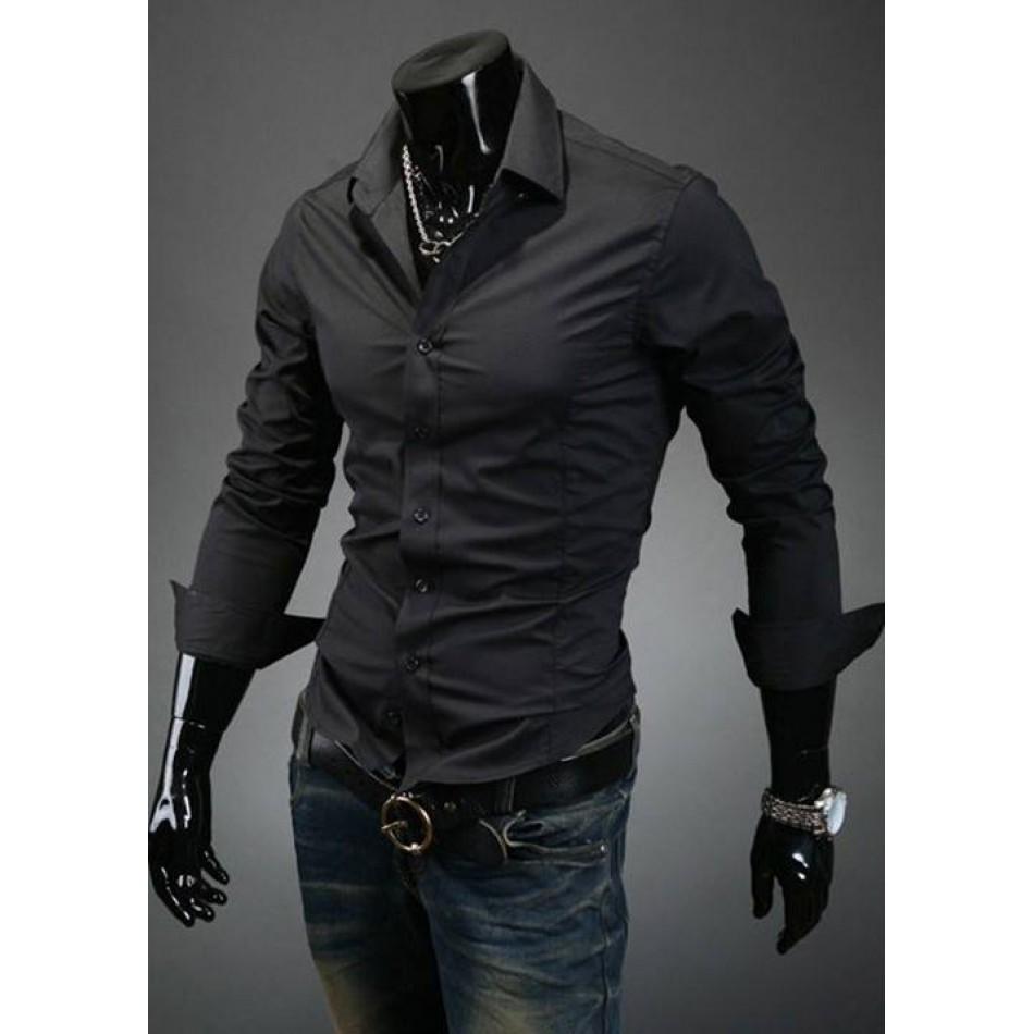 Мъжка черна риза Лукс