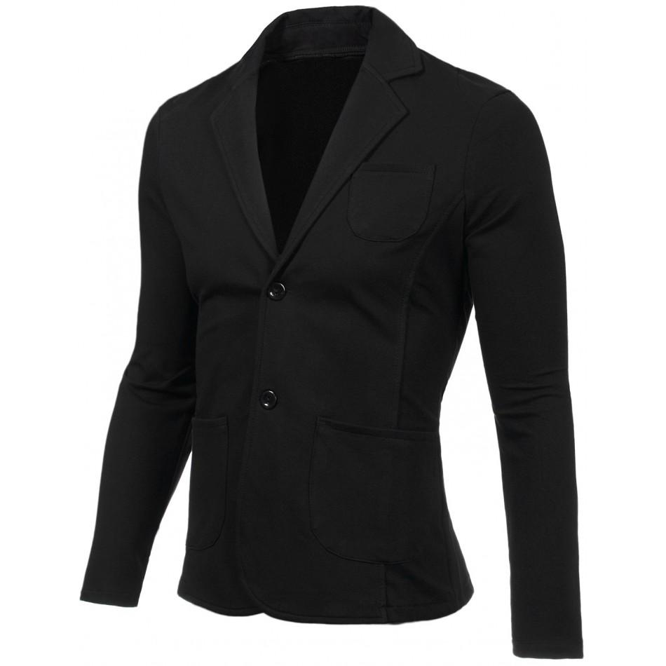 Мъжко черно сако от памук